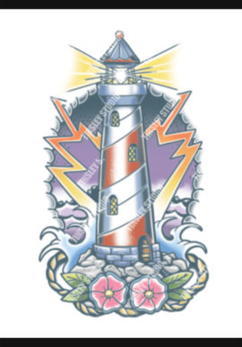 color lighthouse tattoo